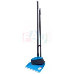 Lopatka s gumou + smetáček dlouhá násada  24x22,5x77,5 77x18 cm  chlup 7 cm  plast, kov