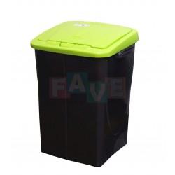 Koš na tříděný odpad zelené víko  52x39x36,5 cm  45 l  plast