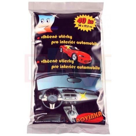 Ubrousky čistící vlhčené na auto 40 ks  20x12 cm