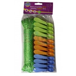 HP Šňůra 20 m pletená + 12 ks kolíčků JUMBO  23x10x4  plast  mix barev