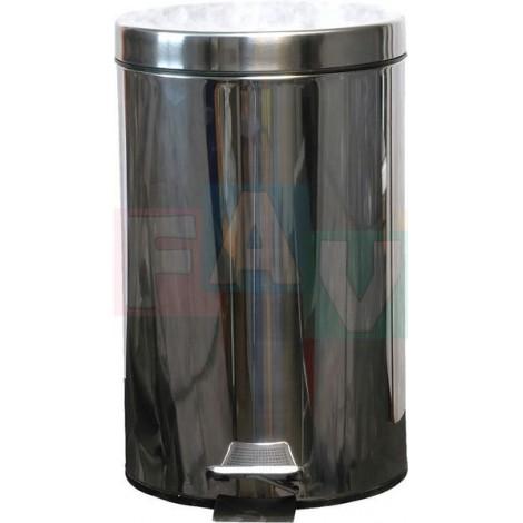 Koš pedálový kulatý s plastovou vložkou  31x38 cm  12 l  nerez