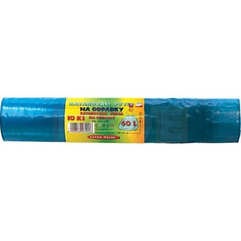Pytle na odpadky zatahovací 10 ks  70x65 cm  60 l  25 mi  plast
