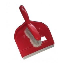 Smetáček + lopatka DELUX s gumou  23x31 25x4,5 cm  chlup 5 cm  plast  červená