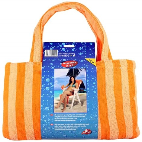 JACQUELINE-mikrovláknová osuška taška oranžová, osuška 150x70 cm, taška 40x24 cm