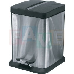 Koš pedálový čtvercový s plastovou vložkou a víkem  28,5x18x18 cm  6 l  nerez