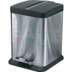 Koš pedálový čtvercový s plastovou vložkou a víkem  38,5x20,5x20,5 cm  12 l  nerez