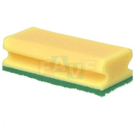 Houba GASTRO tvarovaná žlutá, zelený pad, balení 5 ks  15,5x7x4 cm  polyuretan