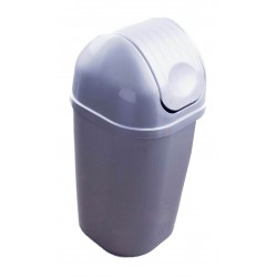 Koš DinDon odpadkový hranatý s víkem, stříbrný  67x34 cm  50 l  plast