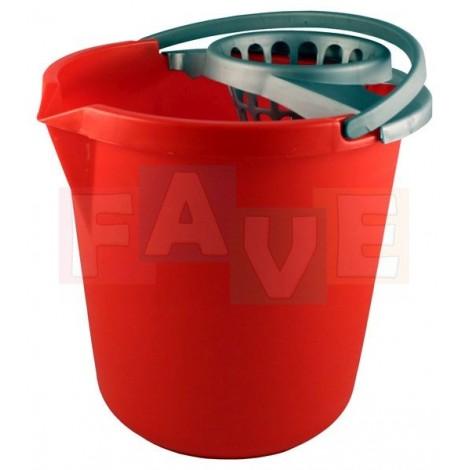 Kbelík JOLLY s výlevkou + ždímač 10L  plast, červený