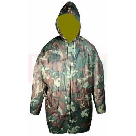 Pláštěnka ARMY CAMOUFLAGE se zipem a kapucí  112x77 cm  plast, velikost XL