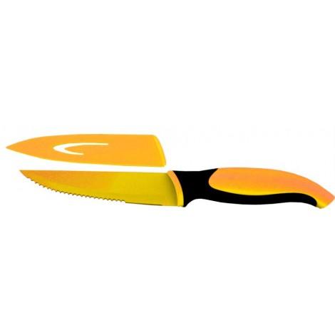 Nůž TEFLON COATING ocelový na steak 13cm, oranžový