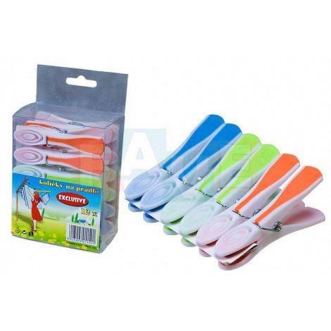 Kolíčky EXCLUSIVE na prádlo 12 ks  8,5x1 cm  plast