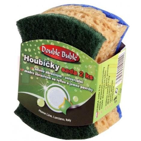 Houbička DOUBLE BUBLE antibakteriální, zelený a modrý pad, sada 2 ks  10x5,5x2,5 cm  polyuretan