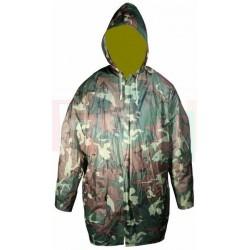Pláštěnka ARMY CAMOUFLAGE se zipem a kapucí  112x77 cm  plast