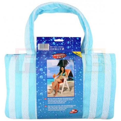 JACQUELINE-mikrovláknová osuška taška modrá, osuška 150x70 cm, taška 40x24 cm