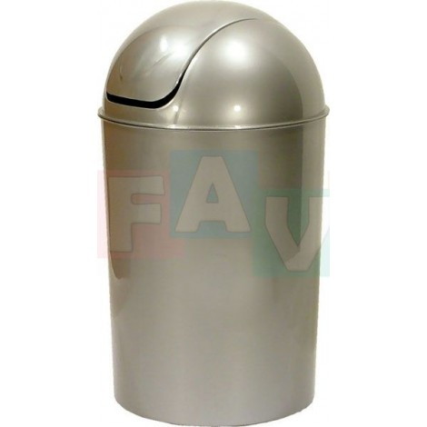 Koš OSKAR odpadkový kulatý s víkem, stříbrný  40x26,5 cm  15 l  plast