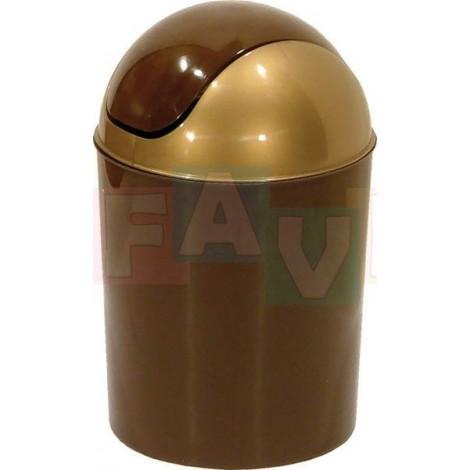 Koš OSKAR odpadkový kulatý s víkem, hnědý  29x18 cm  7 l  plast
