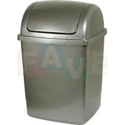 Koš KLIP odpadkový hranatý s víkem, stříbrný  41x18,5x22 cm  12 l  plast