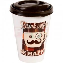 Kelímek RETRO VASO CAFÉ na kávu , s víčkem 3 motivy  13x9 cm  0,43 l  plast