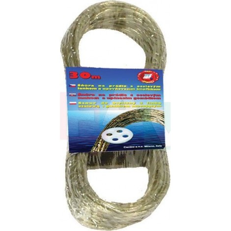 Šňůra s ocelový lankem 30 m  24x9 cm  ocel, plast