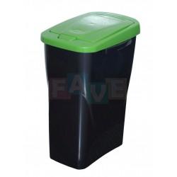 Koš na tříděný odpad zelené víko  42x31x21 cm  15 l  plast