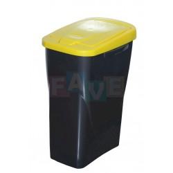 Koš na tříděný odpad žluté víko  60x42x27 cm  40 l  plast