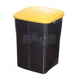 Koš na tříděný odpad žluté víko  52x39x36,5 cm  45 l  plast