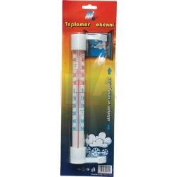 Teploměr okenní malý  21x6 cm  plast