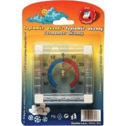 Teploměr okenní, nalepovací, magnetický  7,5x7,5 cm  plast